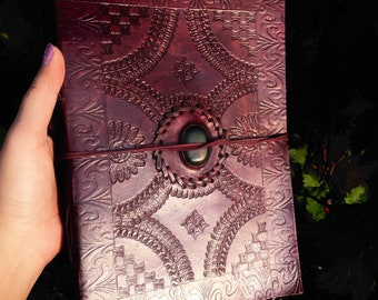 Blank Book of Shadows with Agate; Leather Journal; Leather Blank Book of Shadows