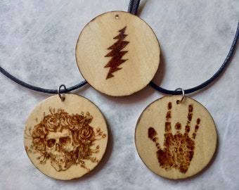 Woodburned Grateful Dead Pendants