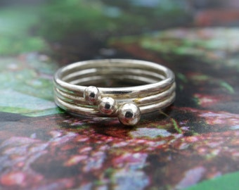 Handmade Silver Three Ball/Three Band Ring