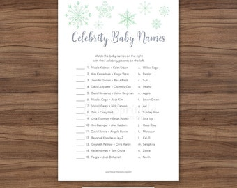 Celebrity Baby Names / Winter Baby Shower / Winter Baby Shower Game / Its Cold Outside Baby Shower Game / INSTANT DOWNLOAD