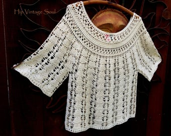 Vintage 1970's Cotton Crochet Sweater, Mystical Fashions Sweater, Bohemian