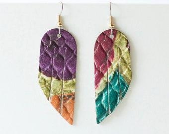 Leather Earrings / Mini Fringe / Tropical Summer