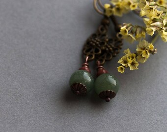 SALE Nephrite Earrings, Vintage Boho Green Nephrite Earrings, Nephrite Jewelry, Rustic Green Nephrite Earrings