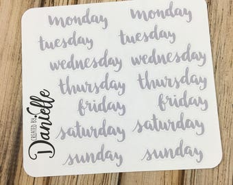Days of the Week Planner Stickers for Calendar, Journal, Notebook or Planner, Large set of  14 - Gray