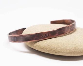 Ladies Copper Cuff, Roman Numeral Date Bracelet, 7th Anniversary Gift, Oxidized Copper Cuff, Copper Anniversary, VII