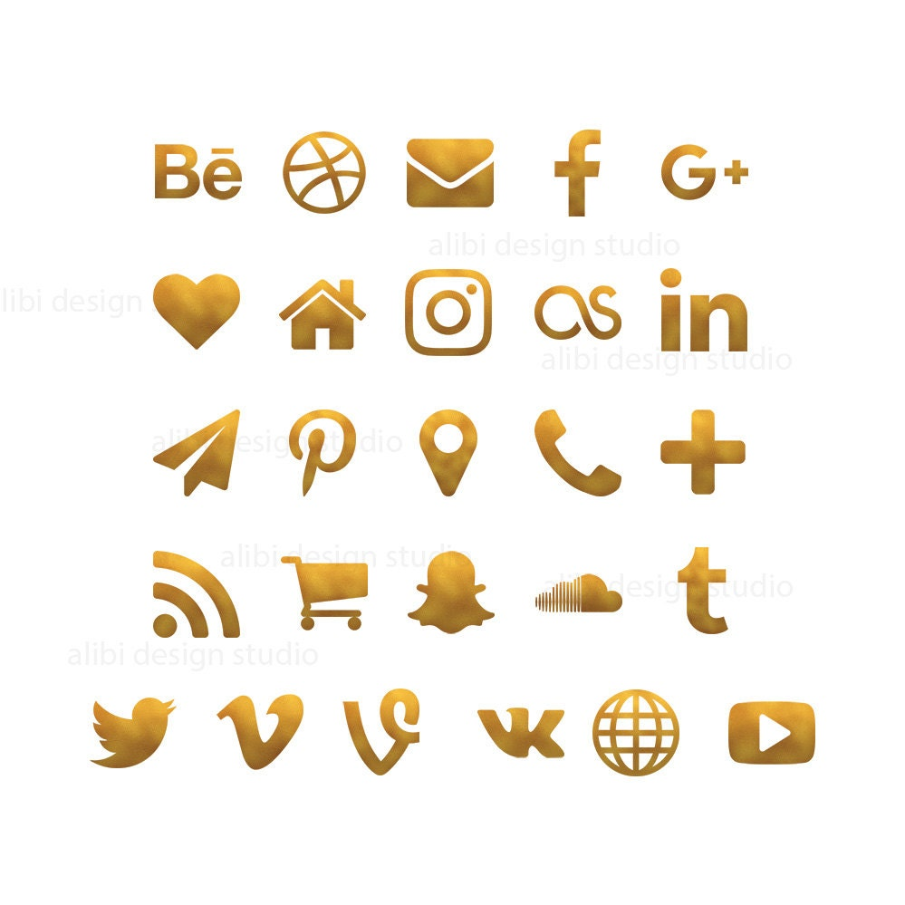Social media icons gold foil icons gold buttons website zoom magicingreecefo Gallery