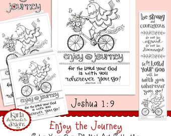 Enjoy the Journey - Coloring Collection - Joshua 1:9 - Bible Journaling Bookmarks - INSTANT DOWNLOAD, Illustrated Faith, Scripture Christian