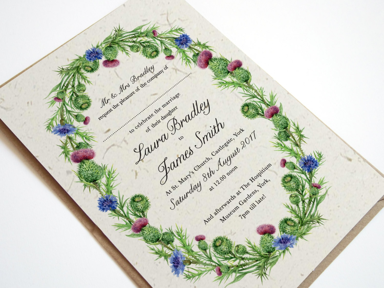 Watercolour Scottish Thistle Wedding Invitation Rustic