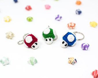 Power-Up Mushroom / Super Mario / Keychains / Crochet / Amigurumi / Miniature / Magic Mushroom / READY TO SHIP