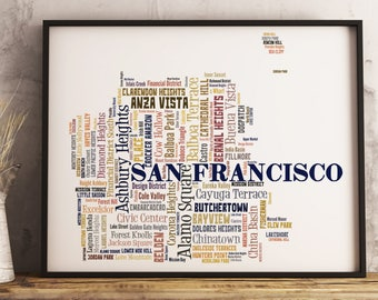 San Francisco Art, San Francisco Art Print, San Francisco Neighborhood Map, San Francisco Typography Art, San Francisco Poster Print