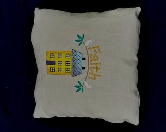 Pillow, Country, Primitive, Home, Faith 12x12 on linen READY TO SHIP