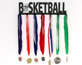 Basketball Medal Display / Basketball Medal Holder / Basketball Gifts / Basketball Medal Hanger / Basketball Gift Idea