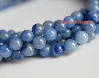 "15.5"" 8mm/10mm Natural blue aventurine round beads, blue gemstone, semi-precious stone, natural blue jewelry beads"