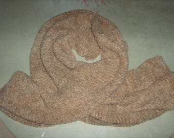 Beige soft hand-knitted scarf