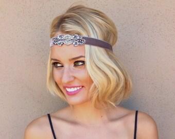 1920s headband, flapper headpiece, silver headband, champagne great gatsby velvet headband, gold 1920s headband, Art Deco dress accessory