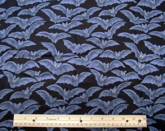 """Fat Quarter Halloween Fabric Life Like Realistic Gray Bats Allover on Black """"Bats"""" #8005 - Springs Industries Springs Living - OOP"""