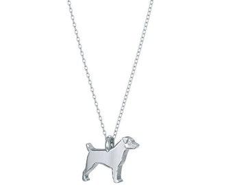 Jack russell mini pups diamond necklace