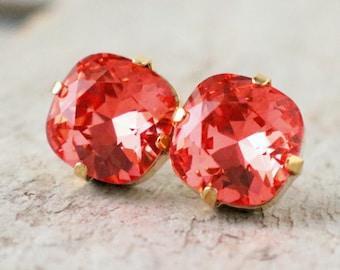 Watermelon | Swarovski Crystal | Cushion Cut | Swarovski Earrings | Square Earrings | Wedding Jewelry | Gift For Her | Padperadscha Wedding