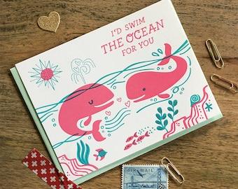 Swim the Ocean Whales Letterpress Card