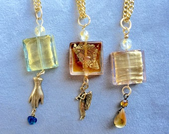 """24"""" pendant necklaces with lamp work Murano glass and charms"""