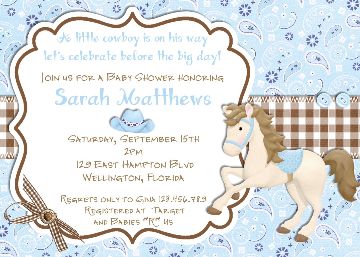Cowboy Baby Shower Invitation Printable Blue Brown Invite