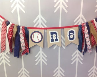 Baseball themed highchair bunting for first birthday