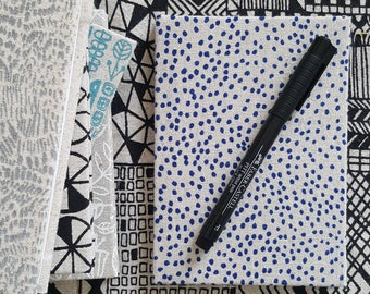 Pocket sized hardback notebook in screen printed fabric by Lucie Summers, Pinpoint design in Bright navy
