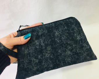 Black and Gray Mottled Cotton ~ Raegan Wristlet Free Shipping in the US
