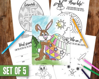 Easter Coloring Pages Printable Activity Easter Word Search Easter Bunny Children Coloring Pages Easter Crossword Instant Download PDF