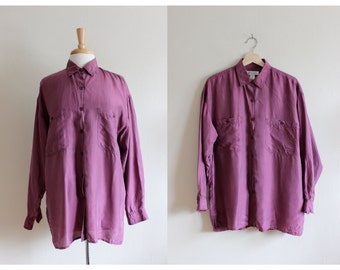 Vintage 1980s Slouchy Purple Silk Button Down Top
