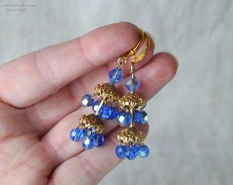 Vintage Lewis Segal Drop Earrings, Statement Earrings, Lewis Segal, Vintage Blue AB Faceted Glass, Filigree