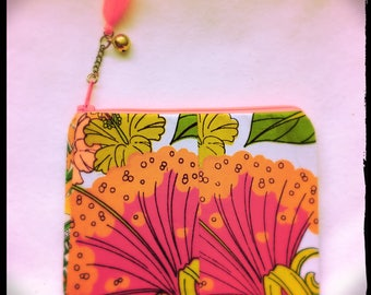 SALE ! small patchwork zipper clutch - Lehua Sunsets - made from Vintage Hawaii fabric morsels w/ a vintage chain, bell + tassel zipper pull