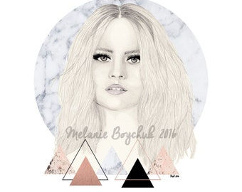 Print of an Original Fashion Illustration - Fashion Art, Fashion Print, Pencil, Triangles, Geometric