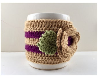 Floral Cup Cosy, Cup Sleeve, Mug Cosy, Cup Cozy, Mug Sleeve, Mug Warmer - in Pure Merino Wool & Cashmere mix