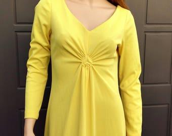 Vintage 70's  Yellow Maxi dress  Sz Small--Medium