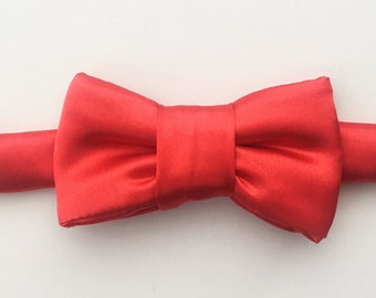 Red Satin Bow Tie Cat Collar