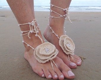 Beige / Ivory / Nude / Pearl Beaded Crochet Barefoot Sandals, Footless Crochet Sandals, Beach Wedding, Beach Sandals, Womens Bridal Shoes