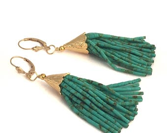 Beaded Turquoise Tassel Earrings with Gold Cap