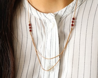 Vintage Avon Gold Chain Necklace - Red Bead Necklace