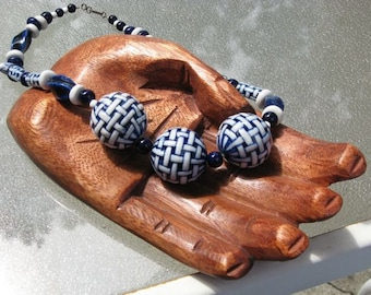 Asian cobalt and white handpainted choker Chinese Porcelain  large Chinese blue and white focal beads cobalt  OOAK  /necklace under 75/