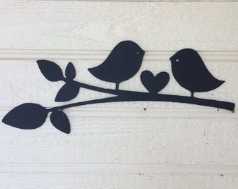 Two love birds metal sign