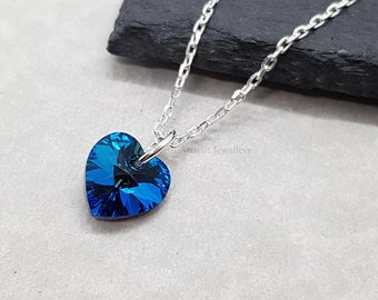 Bermuda Blue Crystal Heart Necklace, Swarovski Crystal Heart, Gift For Bridesmaid, Solid Silver Chain, Gift For Her, Mothers Day Gift