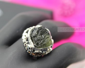 Moldavite Ring, 925 Sterling Silver Ring, Gemstone Rings, Crystal Rings, Healing Rings