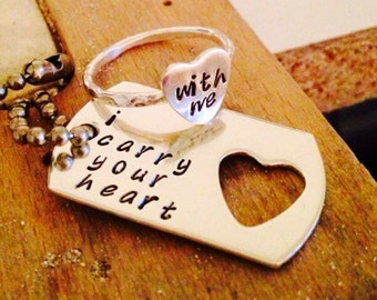 I carry your heart  PETITE dog tag and sterling silver HEART ring