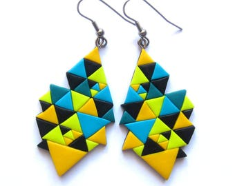 Geometric Earrings, Yellow Earrings, Triangle Earrings, Colorful Earrings, Bright Earrings, Big Earrings, Party Jewelry, Modern Earrings