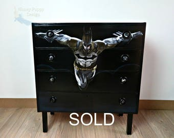 """SOLD"""""""""""""""""""""""" Batman hand painted chest of drawers"""