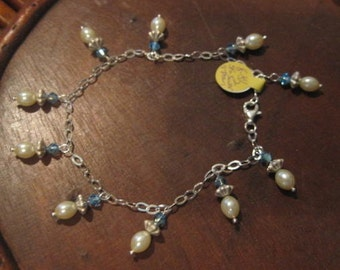 Soft And Dainty Sterling, Glass Pearl and Crystal Bracelet