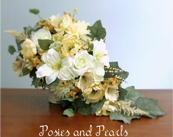 """Ivory, Cream, Beige, and Tan Cascading Silk Flower Bridal Bouquet, Lilies, Roses, Poppies, Chrysanthemums, and Ivy, """"Erica"""""""