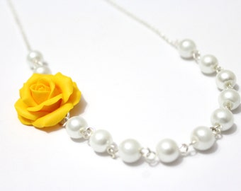 Bridesmaid Jewelry Yellow rose, Yellow Flower Necklace, For Her, Jewelry, Wedding White pearl, Rose Bridesmaid Jewelry, Bridesmaid Necklace