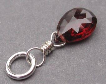 Garnet Birthstone Charm, Garnet Bracelet Charm,  Garnet Necklace Charm, January Birthstone, Sterling Silver Wire Wrapped Pendant, Stone 1